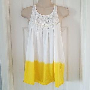 Free People Yellow White Dip Tie Dye Tank